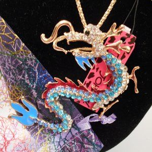 Betsey Johnson Blue/Red Dragon Necklace